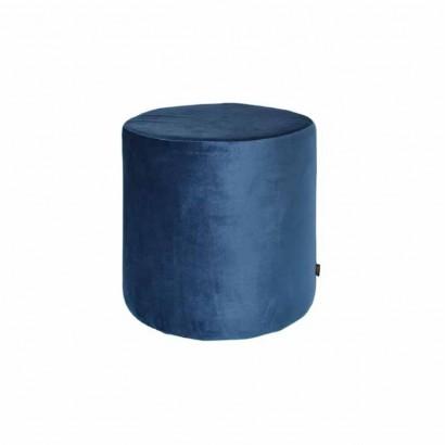 YPOS Pouf Cylindrique En Velours D33.5XH32CM BLEU