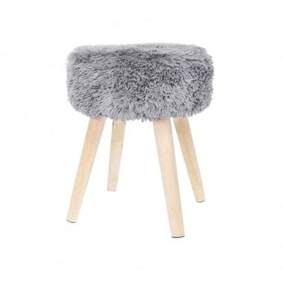 Fabric stool SHAGGY D36xH46CM LIGHT GRAY
