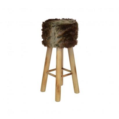 Stool look fur 30x30xH38cm Brown