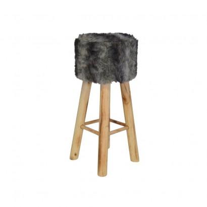 Stool look fur 30x30xH38cm Grey