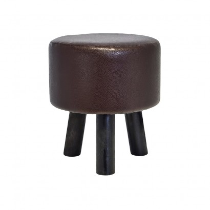 PU stool with wooden legs Ø29x32cm