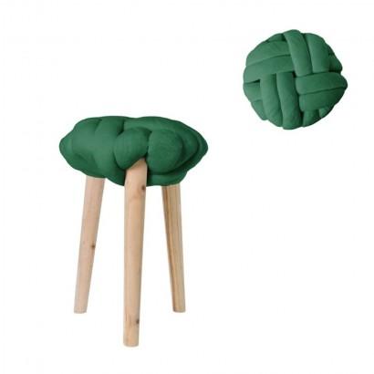 Tabouret nœud avec pieds en Bois vert D30 H44 cm