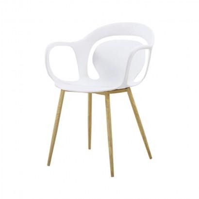 HIRO Fauteuil chaise salle a manger avec assise en PP BLANC