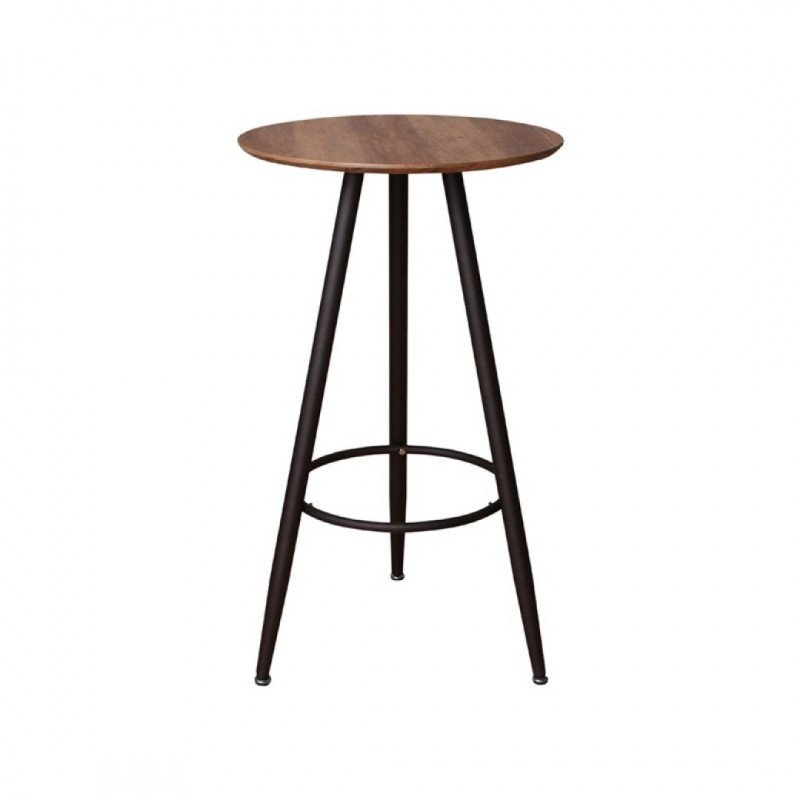 Round upright dining table in wood