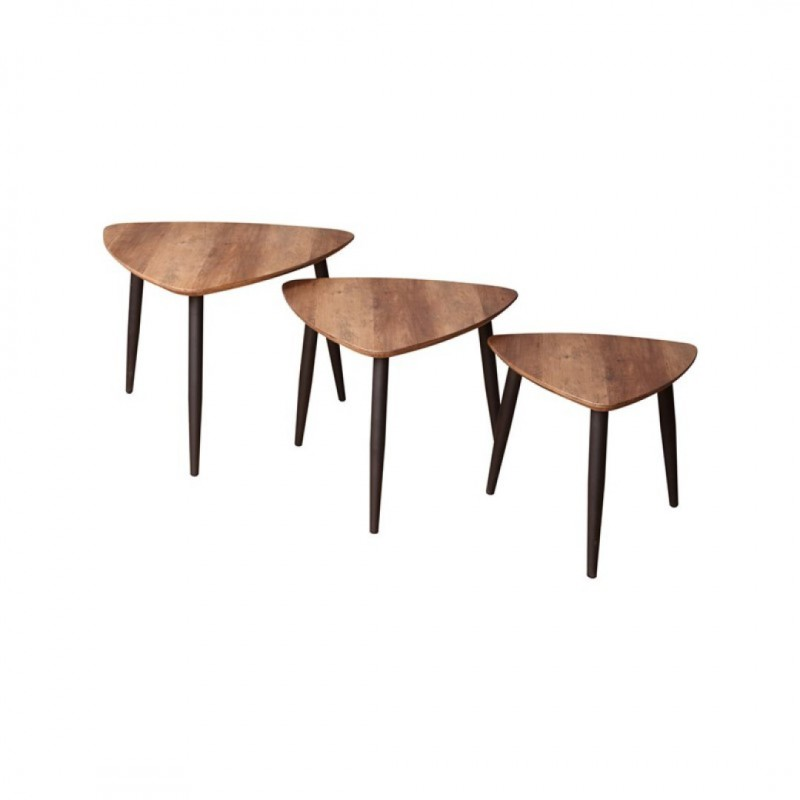 BLACKUS 3 tables basses avec pieds noirs