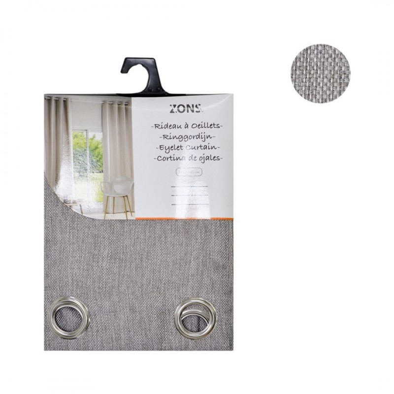 Curtain pair with eyelets obscuring grey 140x240cm Rice linen fabric