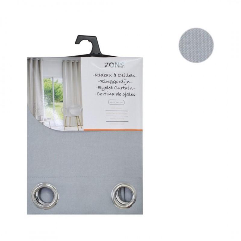 Gordijn paar met oogjes blackout linnen grijs 140x240cm witte zijden vel