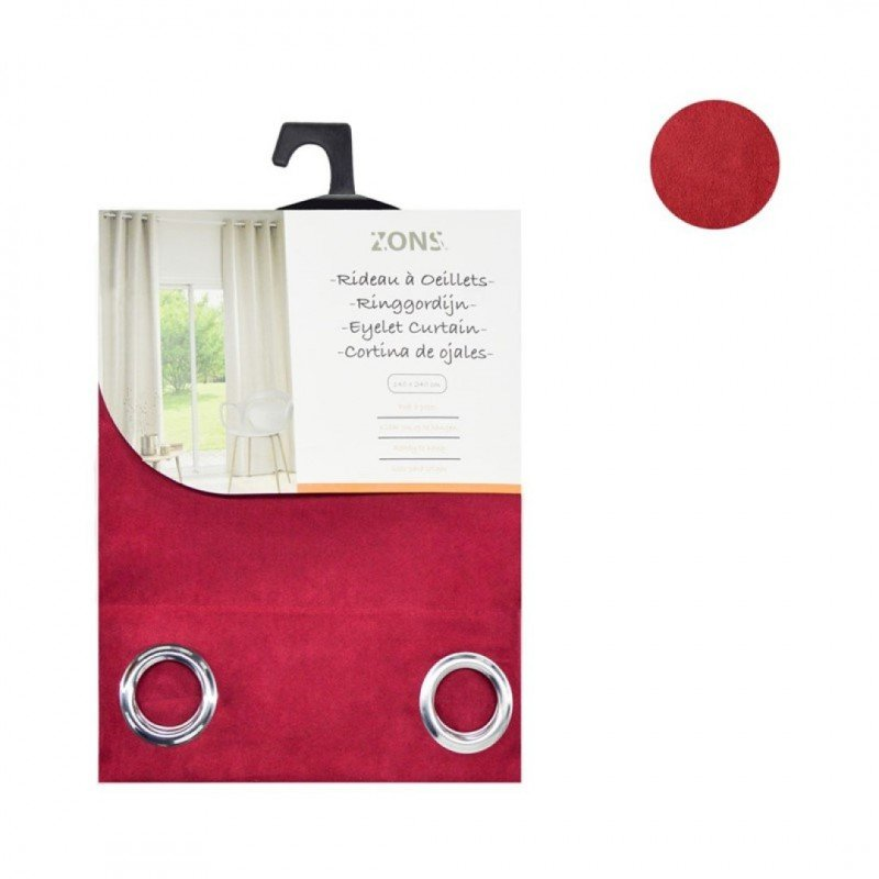 Curtain pair with eyelets blackout suede 140x240cm raspberry