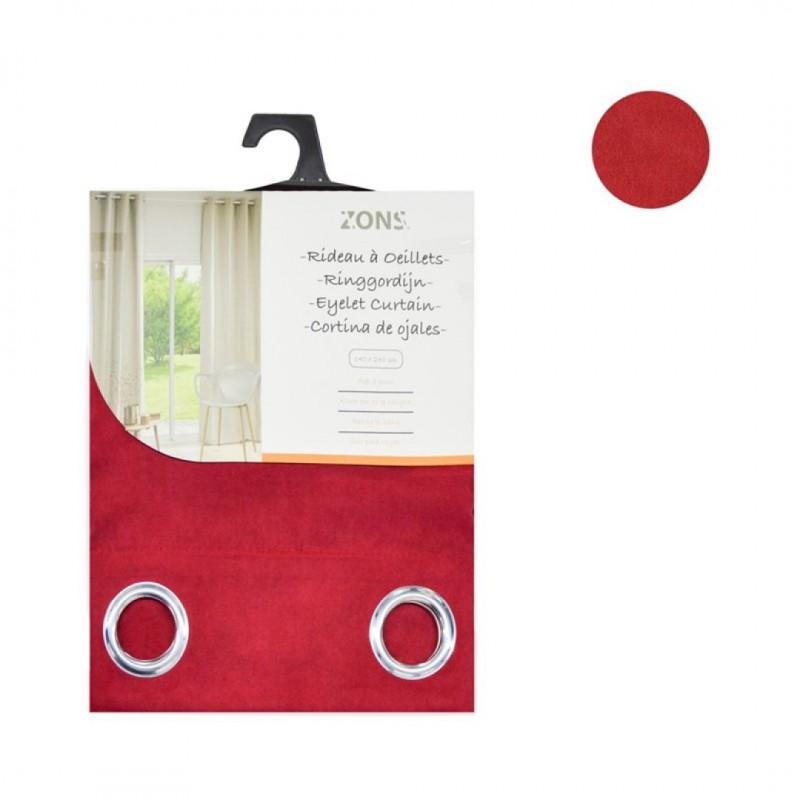 Lot de 2 rideaux à œillets occultant suédine rouge 140x240cm