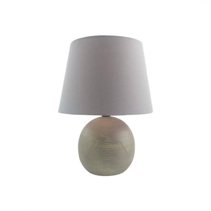 Lampe à poser  boule  en bois Gris h30cm