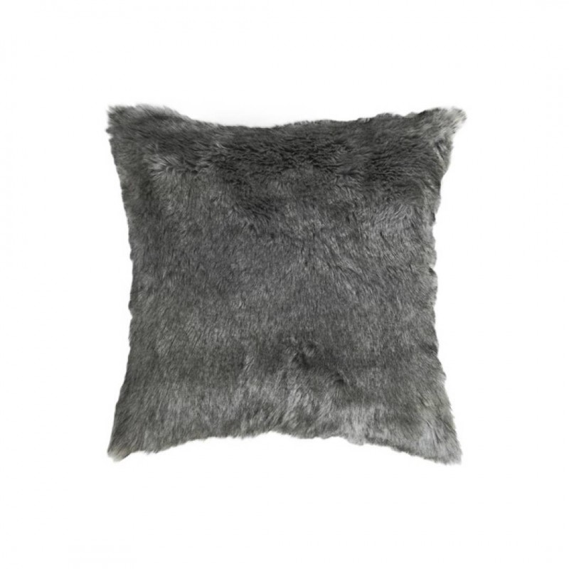 Cushion DOLLY GREY fur 45x45cm double sided removable cover