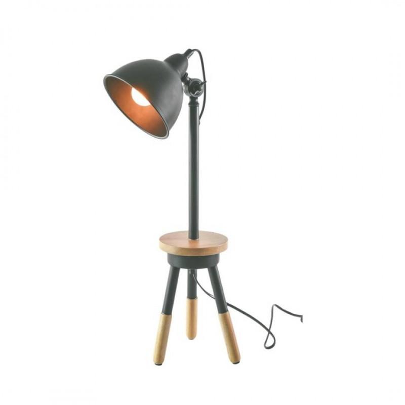 LALOU Lampe en bois Gris + plateau H59cm