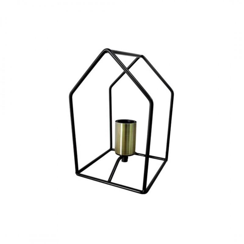 Lampe Forme Maison métal Noir H23cm