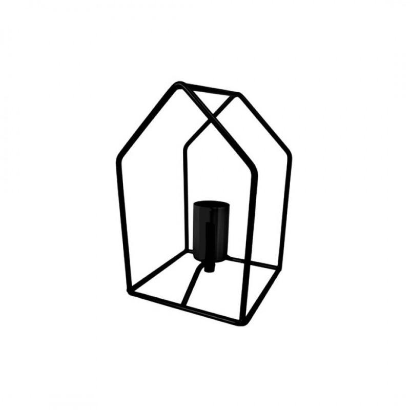 Lampe à poser maisonette  métal Noir H23cm