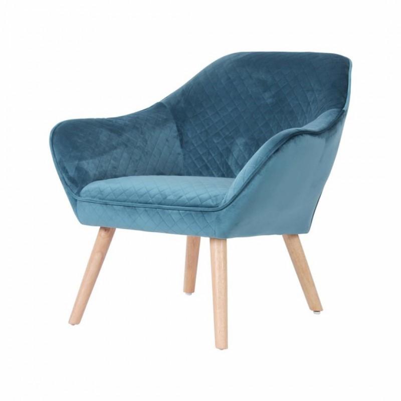 HESTER Blauw fluwelen fauteuil