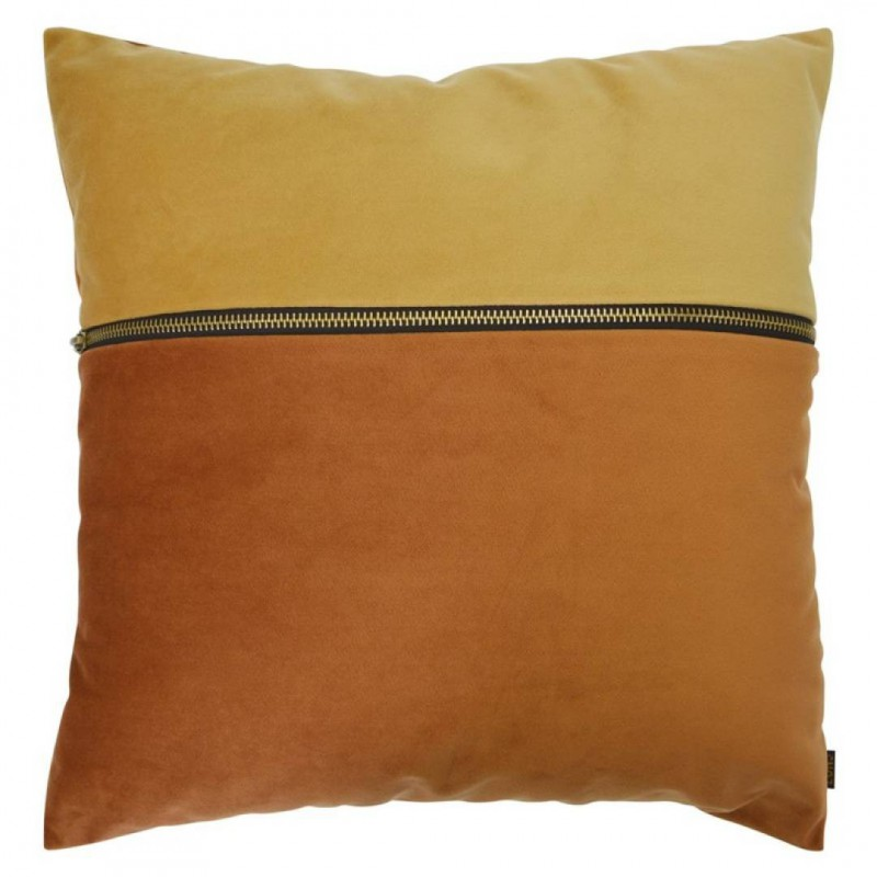 Coussin en velours YELLOW AND ORANGE avec zip
