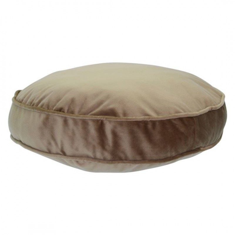 Lot de 2 coussins ronds en velours BEIGE