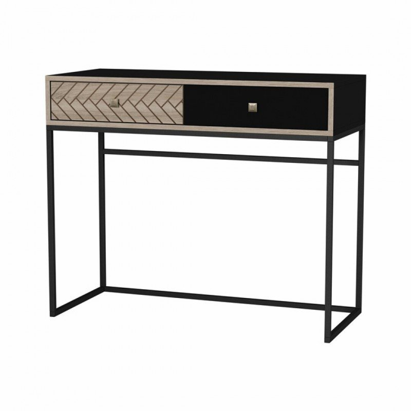 Wall table LINDA black with pattern 90x35cm