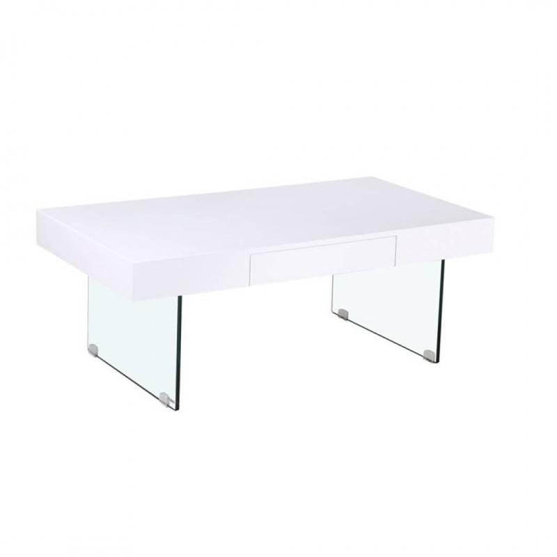 Table basse en bois 110x60x41cm Pieds en verre