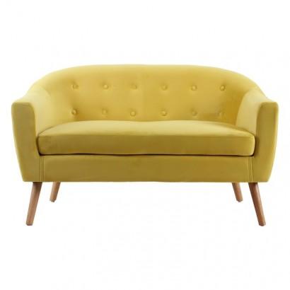 KLARY - Yellow velvet sofa