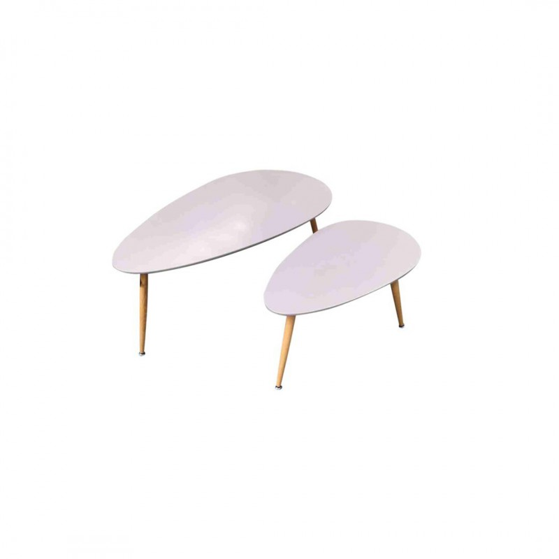 FLY Set of 2 grey nesting coffee tables in Scandinavian Style