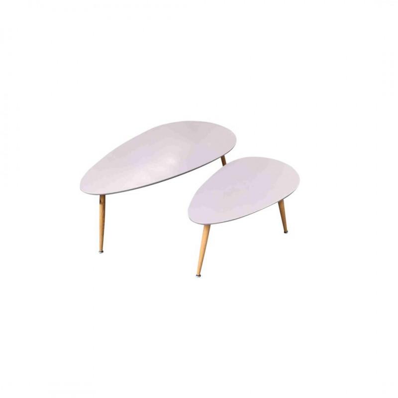FLY Set van 2 grijze Nesting salontafels Scandinavische stijl