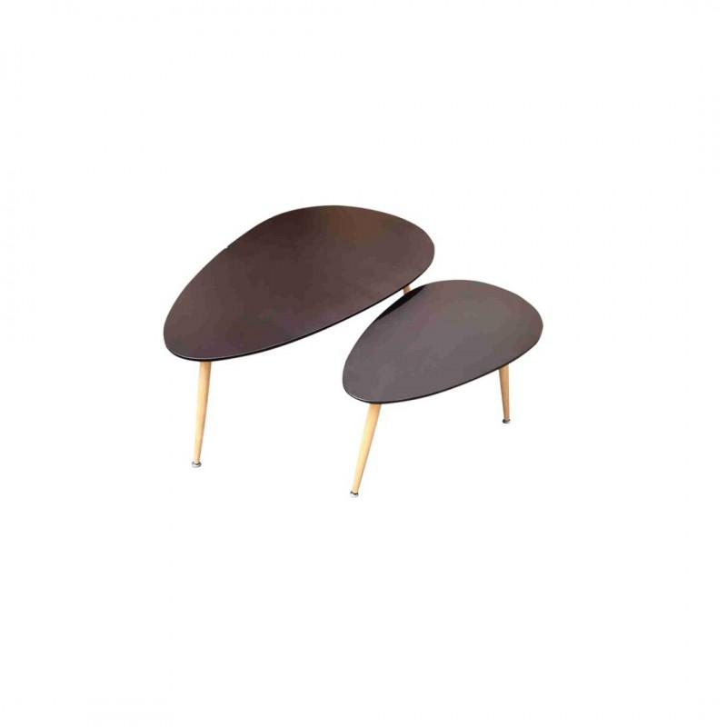 FLY Lot de 2 tables basses Gigogne Noir au Style Scandinave