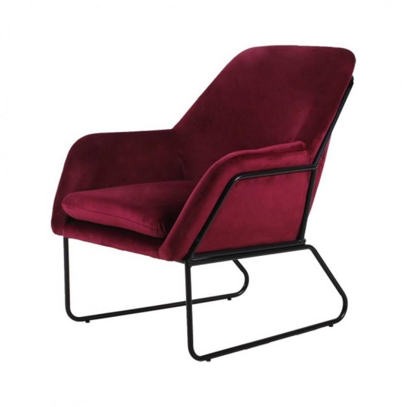FINDA Velvet Armchair metal legs