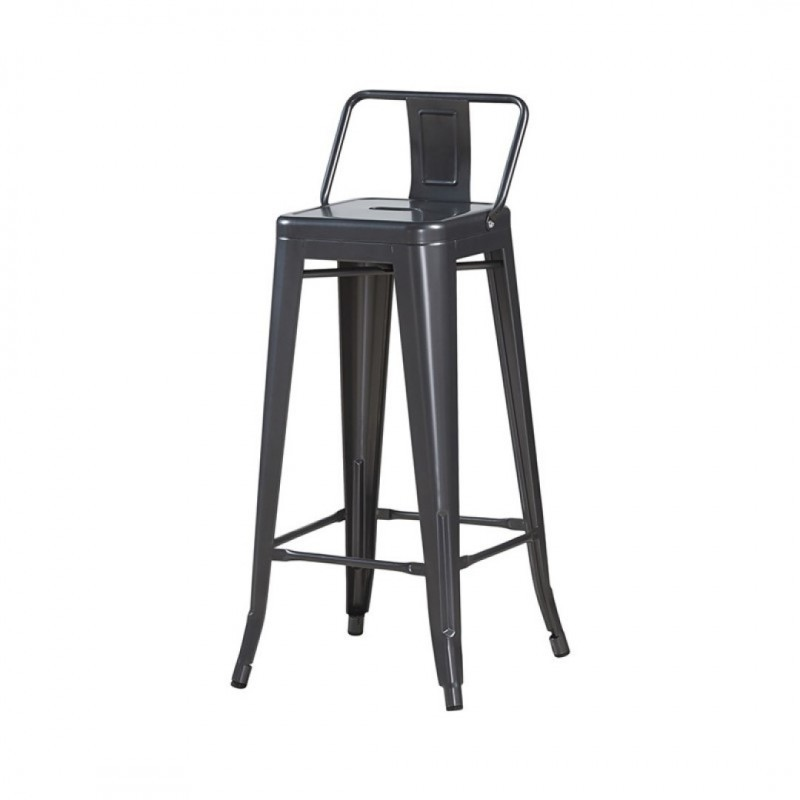 Industrial bar stool with tolix inspired backrest Seat height 76cm