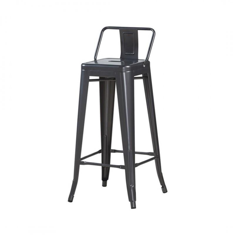 Tabouret de bar industriel avec dossier inspiré tolix Hauteur assise 76cm