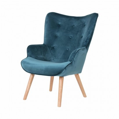 Velvet Armchair with wooden...
