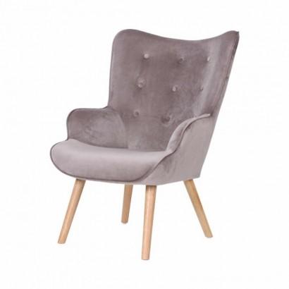 Velvet Armchair with wooden...