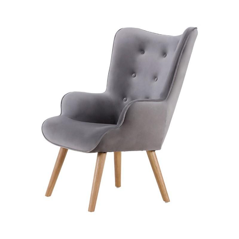 Helsinki Velvet Armchair with wooden legs