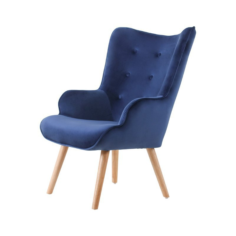 Velvet Armchair with wooden legs HELSINKI
