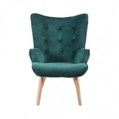 various design authentic so cheap Helsinki Velvet Armchair with wooden legs
