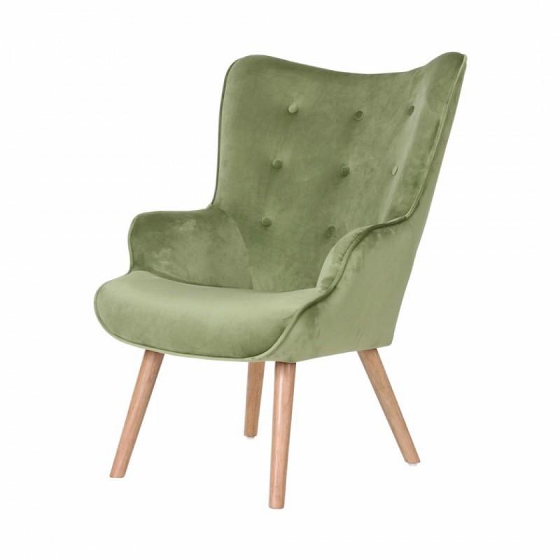 Velvet Armchair with wooden legs HELSINKI