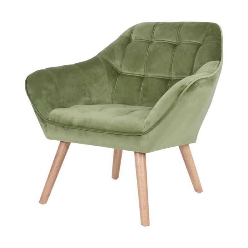 Velvet upholstered armchair - OLSO