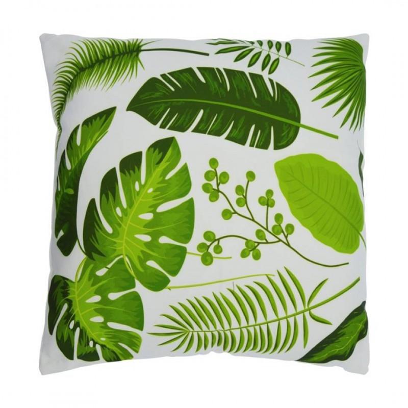 Coussin ALBIZIA tropical en tissus vert 45x45