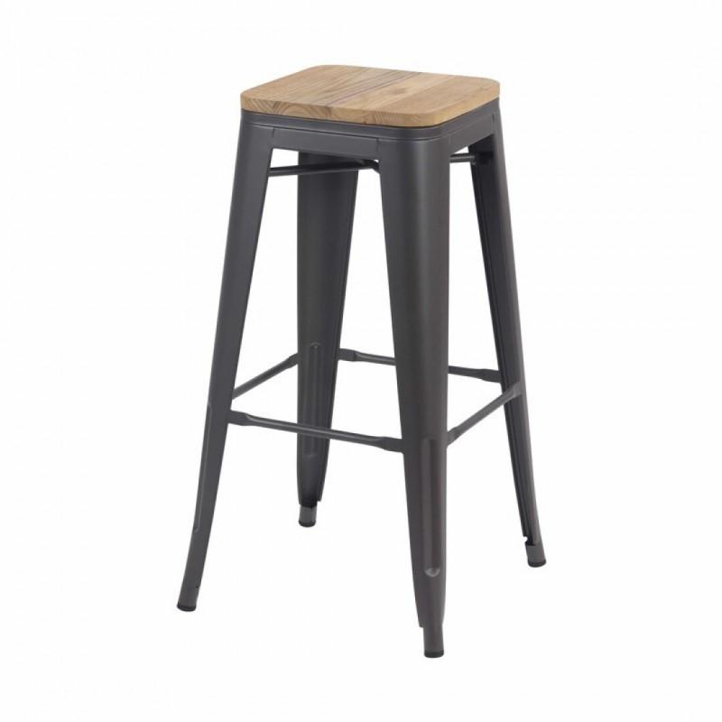 Tabouret bar industriel inspiré tolix H76Cm avec assise en bois de manguier