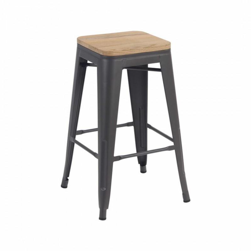 Tabouret bar  industriel avec assise bois manguier inspiré tolix mat H66