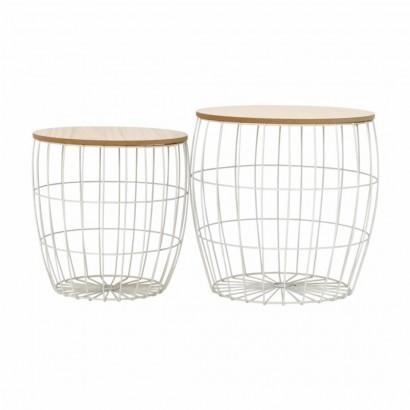 MILES set de 2 tables gigogne en bois/métal Blanc