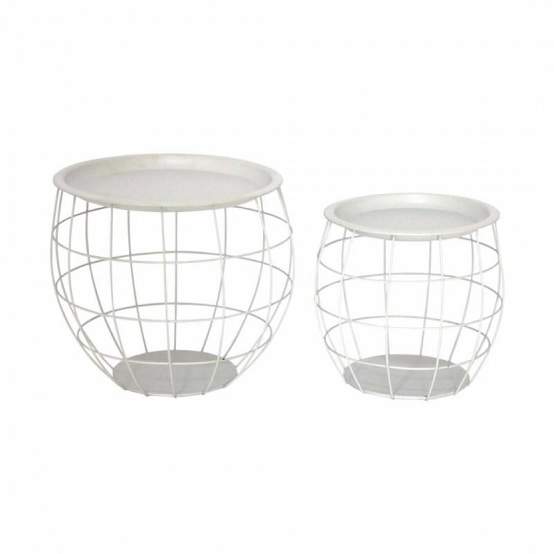 MIRO Set of 2 nesting tables metal White
