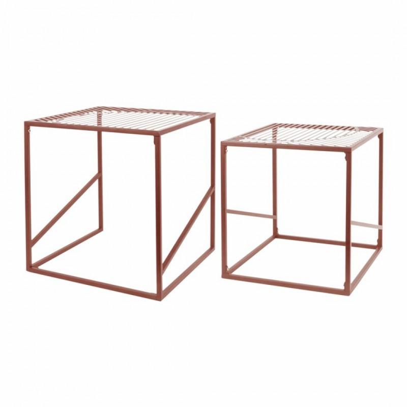 Set of 2 metal nesting tables 7524C