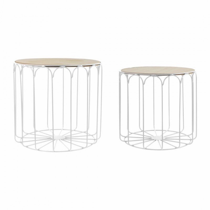 Set de 2 tables gigognes metal blanc