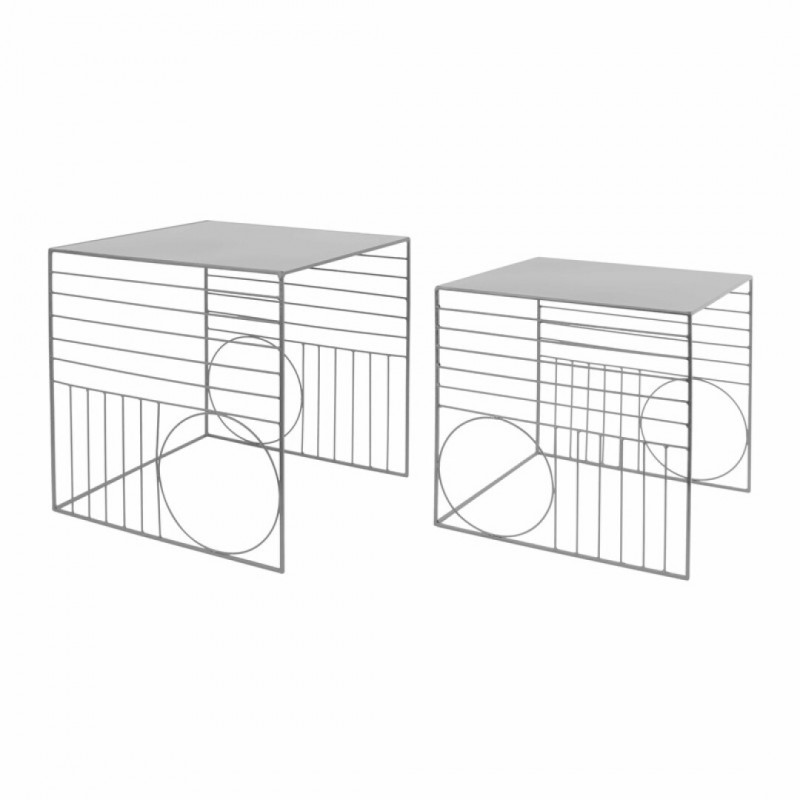 Set of 2 nesting tables metal Grey