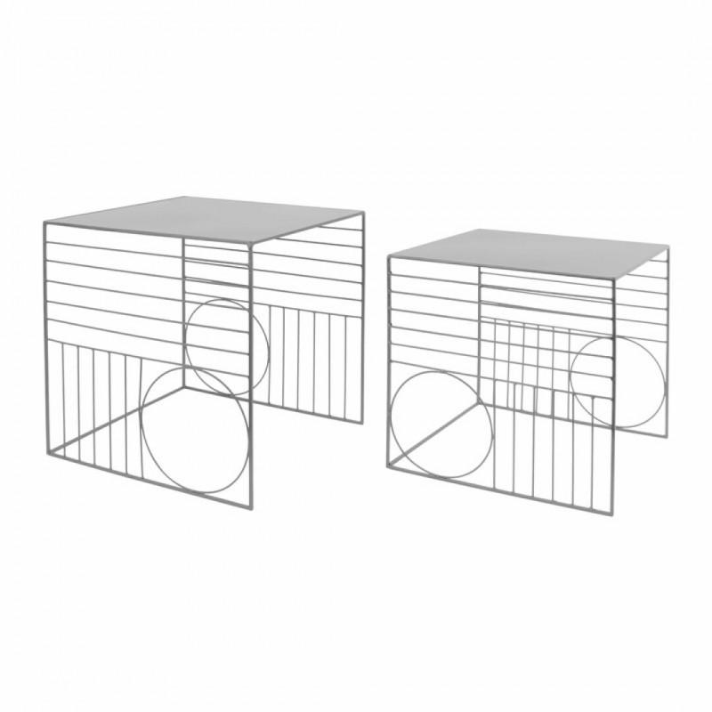 Set van 2 metalen nesttafels Grijs