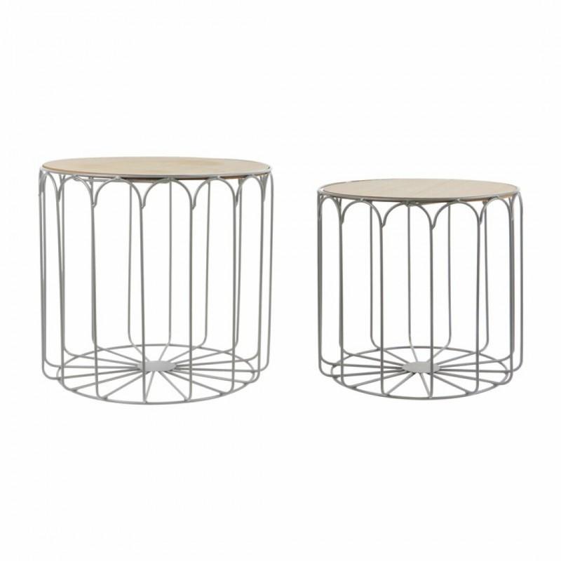 Set van 2 grijze metalen nesttafels