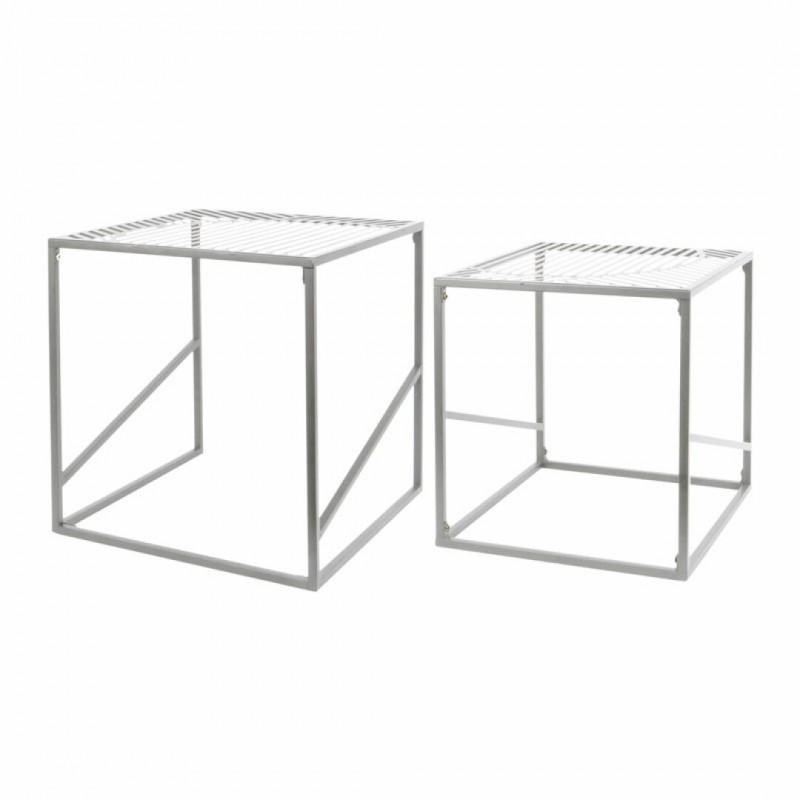Set de 2 tables gigognes métal gris