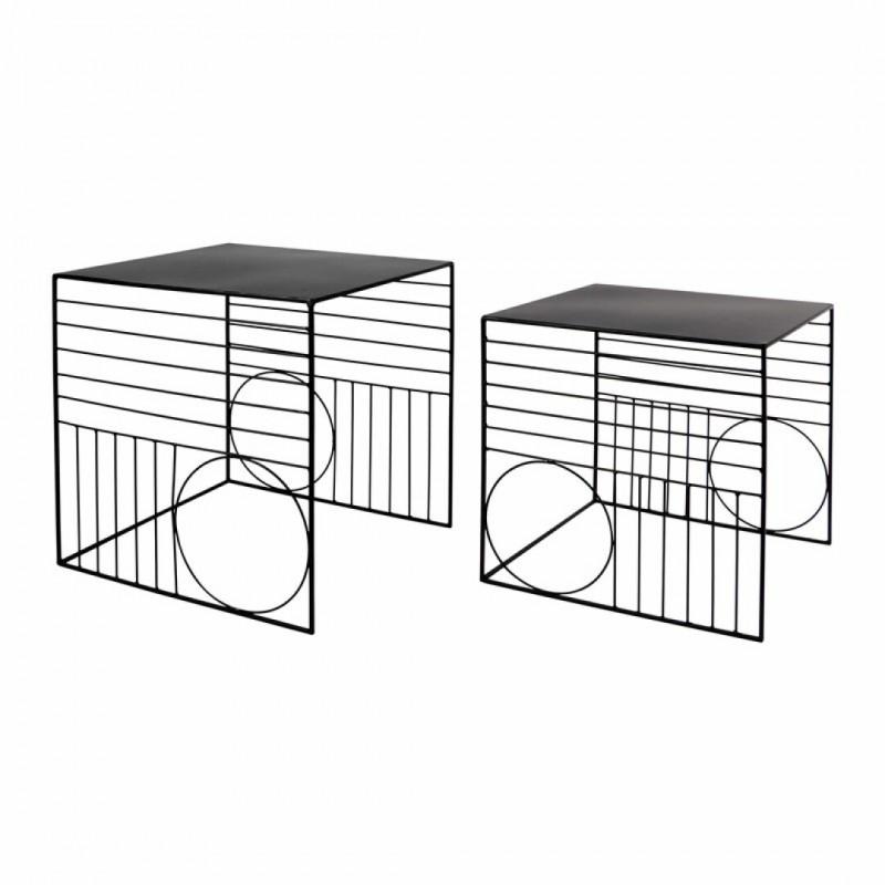 Set van 2 zwarte metalen nesttafels