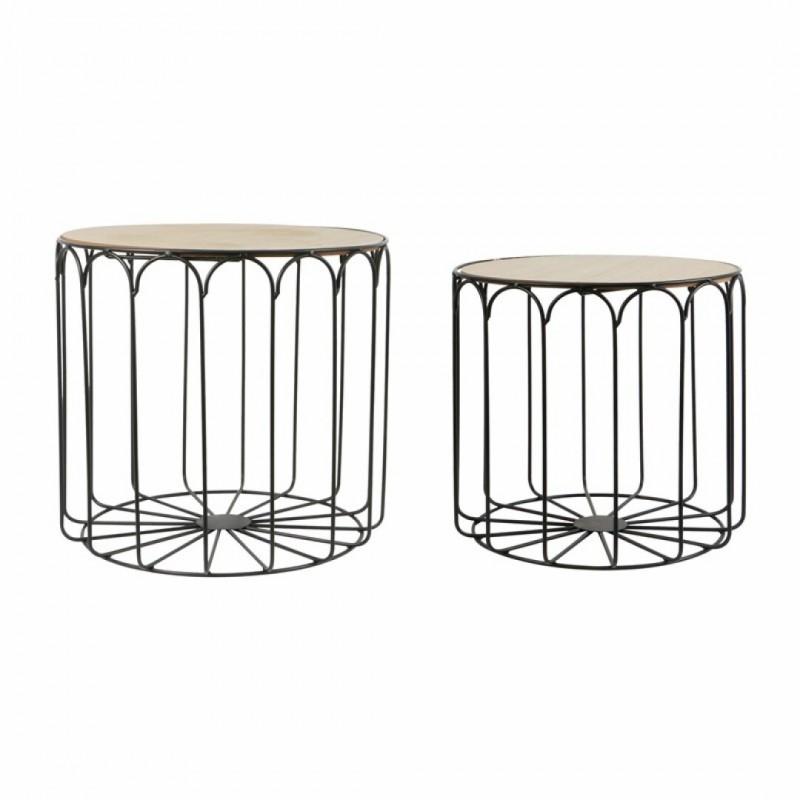 Set de 2 tables gigognes métal noir